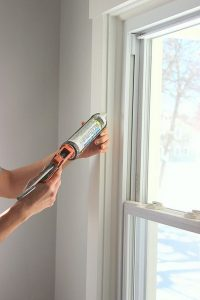 window replacement air gap sealing with caulk