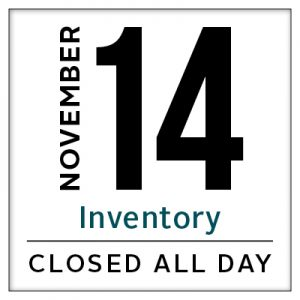 Calendar, The Dalles closed for inventory November 14